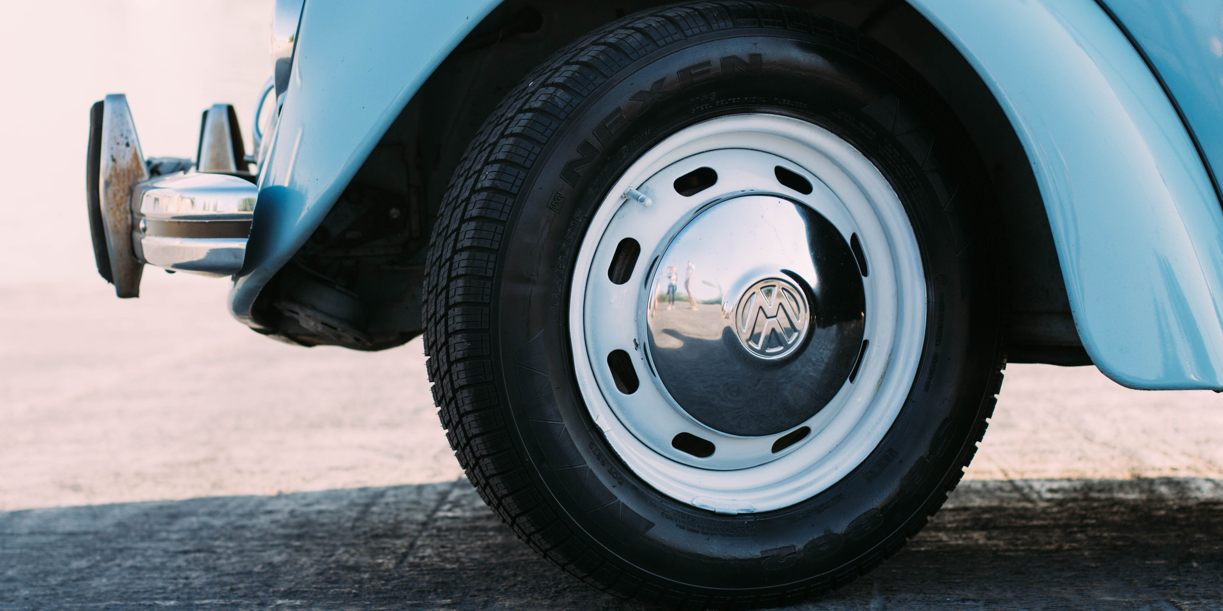 Image of blue VW tyre